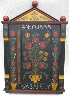 Image detail for -Hungarian painted carved wall cupboard farm peasant folk art furniture. I am making something like this for our kitchen. Hand Painted Walls, Hand Painted Furniture, Art Furniture, Painting Furniture, One Stroke Painting, Tole Painting, German Folk, Scandinavian Folk Art, Hungarian Embroidery