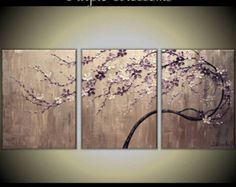 Custom Order Original Acrylic Impasto Modern Painting on Gallery wrapped Canvas 24 Home Decor,--- Purple Blossoms---- by Tomoko Koyama Easy Canvas Painting, Love Painting, Painting Flowers, Cherry Blossom Painting, Modern Architecture Design, Texture Art, The Originals, Stencil, Abstract