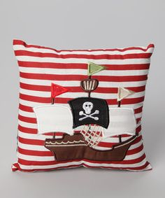 This English-designed pillow is just the thing for aspiring pirates. Featuring plush, quilted construction and high-quality cotton, this cushy accessory is plunder-perfect.