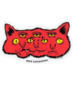 "Get a sick and twisted style with the Catlective red sticker from Neff. Great for personalizing your stuff, this sticker features a morphed cat with three faces and their third eyes open with the text ""Neff Catlective"" below. Eye Stickers, Journal Stickers, Cool Stickers, Funny Stickers, Arte Punk, Snapchat Stickers, Skateboard Design, Purple Aesthetic, Aesthetic Stickers"