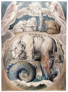 William Blake (1757–1827)  Behemoth and Leviathan, ca. 1805–10  [Book of Job, no. 15]    Morgan Library
