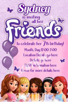 74 best lego friends party images on pinterest lego friends party lego friends birthday invitation by benannainvites on etsy 1000 filmwisefo