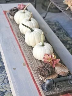 Fall Porch Decorating with wood elements, foliage, and fun pumpkins!