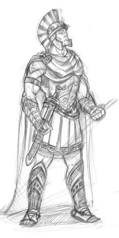 Age of Mythology - Greek Unit Age Of Mythology, Greek Mythology Art, Soldier Drawing, Warrior Drawing, Character Drawing, Character Design, Bugs Bunny Drawing, Roman Warriors, Military Drawings