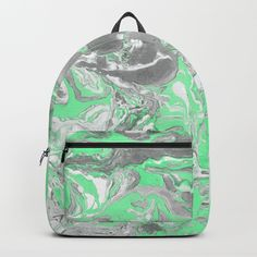Light green and gray Marble texture acrylic paint art Backpack