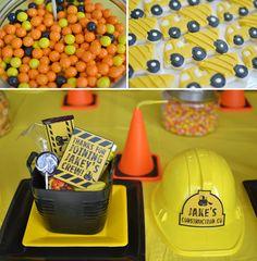 treats and favors (construction helmets, construction orange cone candles)