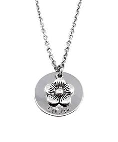 Look at this #zulilyfind! Stainless Steel Personalized Flower Pendant Necklace #zulilyfinds