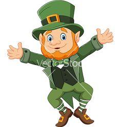 Cartoon happy leprechaun dancing vector