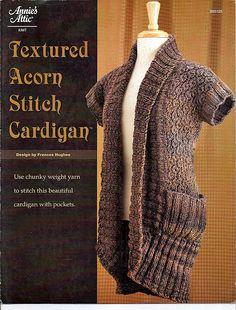 Textured Acorn Stitch Cardigan to Knit Pattern Booklet Annies Attic 885125 by grammysyarngarden on Etsy