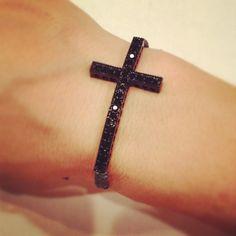 Black rhinestone cross bracelet by AroundMyWrist on Etsy, mothers day 12.00