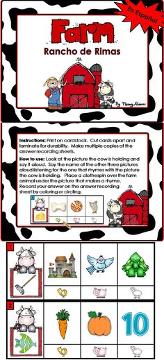 $2.25 Rancho de Rimas Clip Cards will give your students practice identifying two pictures that rhyme.    Includes  2 Sets of 10 Rhyming Clip Cards (20 total)  2 Reproducible Answer Recording Sheets (one for each set of rhyming card)  Answers included