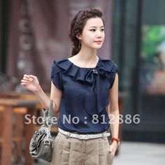 Women's 2013 summer top peter pan collar loose blouse   fashion bow short-sleeve…