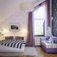 tapeten gelungener mustermix und farbmix schlafzimmer mit dachschrge ideen fr wandgestaltung grafik - Farbe Schlafzimmer Dachschrge
