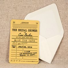Library Card Bridal Shower Invitation Vintage Literary Theme