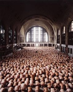 """""""Buffalo 1"""" (2004) by Spencer Tunick. New York Central Terminal in Buffalo, New York, USA. Work at the Albright-Knox Art Gallery."""