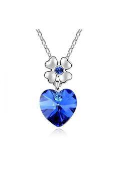 Olenjewellry Oj8754Qs Dancing Heart Austria Crystal Necklace Blue (EXPORT)