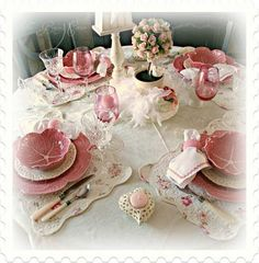 Not just the sweetheart theme, but I want to collect and set tables like this for a party someday :)