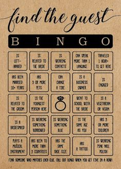 These rustic Find the Guest Bingo Bridal Shower Game cards are a fun bridal shower game to add to your next bridal shower or wedding shower. Play this game with your family and friends at your bridal Wedding Bingo, Wedding Games, Diy Wedding, Wedding Planning, Wedding Ideas, Fun Bridal Shower Games, Bridal Shower Decorations, Bridal Shower Invitations, Bridal Shower Rustic