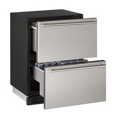 """U-Line 24"""" Refrigerator Drawers-Stainless Steel Secondary Image  Product Highlights: 5.4-cubic foot capacity 2 independent, full-extension drawers Built-in or freestanding installation Weight: 132 lbs Dimensions: 34.13""""H x 24.0""""W x 23.25""""D"""