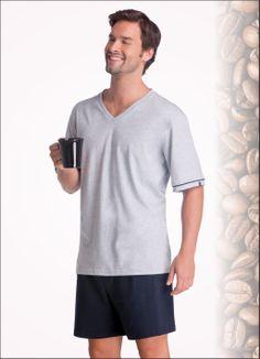 Cheiro de café pela manhã é muito bom!  Pijama Lupo em malha - 28005-001