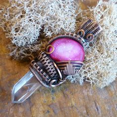 Wire Wrapped Cabochon with Crystal Point