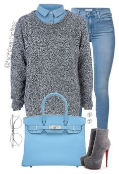 """On Campus p.3"" by highfashionfiles ❤ liked on Polyvore featuring 7 For All Mankind, River Island, Hermès, Christian Louboutin, Wildfox and Nouv-Elle"