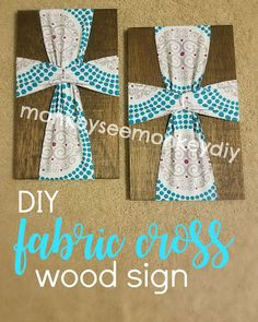 Monkey See Monkey DIY: A Very Merry DIY Christmas: Fabric Cross Wood Sign