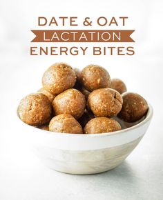 Date & Oat Lactation Energy Bites. These vegan date balls are loaded with health. - Date & Oat Lactation Energy Bites. These vegan date balls are loaded with healthy ingredients to he - Lactation Recipes, Lactation Cookies, Lactation Foods, Vegan Snacks, Healthy Snacks, Healthy Recipes, Easy Snacks, Healthy Eating, Healthier Desserts