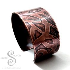 "Sold! ""Whimsy"" Collection: Antique Finish Etched Copper Cuff. Commissions welcome for this style."