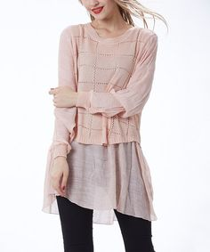 Look what I found on #zulily! Pink Crochet-Check Layered Tunic #zulilyfinds