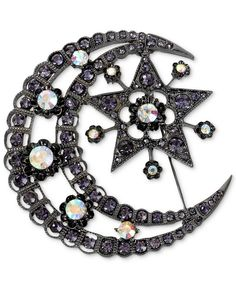 Betsey Johnson Brooch, Hematite-Tone Crystal Moon and Star Pin - Fashion Jewelry - Jewelry & Watches - Macy's
