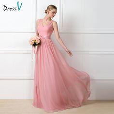 Dressv Charming Long Blush Pink Chiffon Bridesmaid Dresses 2016 V-neck Ruched Wedding Party dress A-line Maid of Honor Dress
