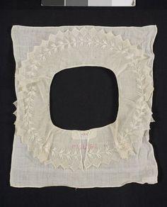 Krage i tyll, understycke i glesvävd bomull, Oxie, 1800-tal. Malmö Museer, nr. MM 001968:006