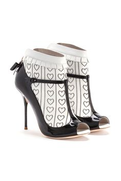 Black and White Sofia Webster Peep Toe T-Strap Patent Pumps