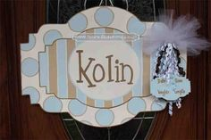 This personalized, hand-painted, wooden, door hanger welcomes your new addition! This can be used for the baby shower, in the hospital and when you bring your bundle of joy home as well. The tag that displays the height, weight, date and time is separate and attached with a ribbon. The tag can be removed after the baby is grown so the sign can be used in the child's room. Personalized Baby Sign For Hospital Door
