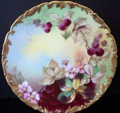 Antique T V Limoges Porcelain Raspberry Cabinet Plate 8 1/4""