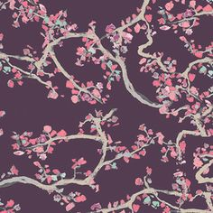 Katarina Roccella - Wonderland Voile - Enchanted Leaves Voile in Plum