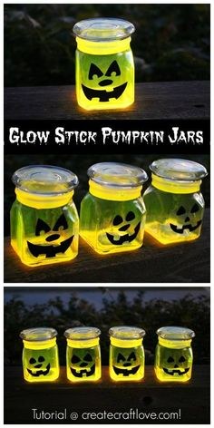 Glow Stick Pumpkin Jars