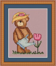 Counted Cross Stitch Pattern Gardening Bear Cross Stitch Pattern - StitchX. $2.95, via Etsy.