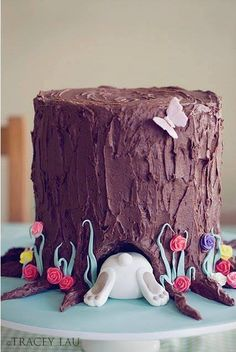 Easter Bunny Tree Stump Cake!
