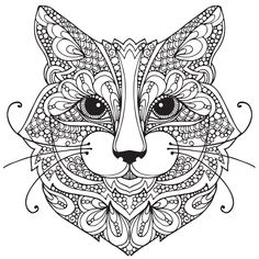 Coloring Adult Coloring Pages Cat Adul with Extraordinary Design Ideas Cat Animal Coloring Pages Adult Coloring Pages Cat 1 Adult Coloring Pages, Cat Coloring Page, Animal Coloring Pages, Colouring Pages, Coloring Books, Mandalas Drawing, Mandala Art, Dibujos Zentangle Art, Zentangle Animal