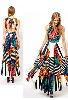 ASOS Stripe and Floral Maxi Dress