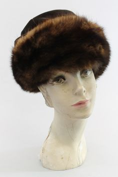 60s I Magnin Hat / 1960s Mink and Velvet Turban / by CrushVintage