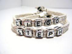 Couples name hemp bracelets  by CustomhempTreasures/ Etsy