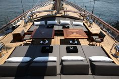 S/Y Roxane – 153 ft. custom yacht built by Su Yachts of Turkey in Spacious aft sun deck. S/Y Roxane – 153 ft. custom yacht built by Su Yachts of Turkey in Spacious aft sun deck. Yacht Design, Boat Design, Deck Design, Luxury Sailing Yachts, Luxury Yachts For Sale, Yacht For Sale, Luxury Boats, Luxury Yacht Interior, Boat Interior
