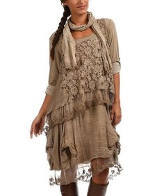 Taupe Lace Layer Shift Dress & Scarf