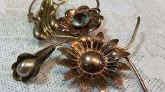 """Beautiful Stylized Flower Bouquet Brooch - Blue Rhinestone / Tear-shaped Pearl (faux) - 1/20 12K ( Yellow Gold filled) - Signed """"TF"""" 1940's by EclecticJewells on Etsy"""