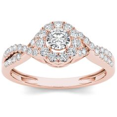 De Couer 10k Rose Gold 1/2ct TDW Diamond Halo Twist Shank RIng ($496) ❤ liked on Polyvore featuring jewelry, rings, jewelry & watches, halo diamond engagement rings, twisted engagement ring, rose gold twist ring, red gold engagement rings and rose gold solitaire