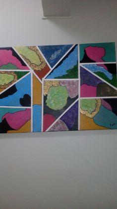 Abstrato com Acrilex, nunca tinha pintado nada na minha vida.