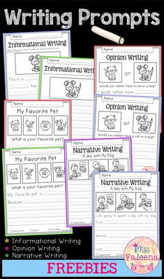 Free Writing Prompts contains 10 free pages of writing prompts worksheets. This product is suitable for kindergarten and first grade students. Kindergarten Kindergarten Worksheets First Grade First Grade Worksheets Free Informational Writing Promp Narrative Writing Prompts, Kindergarten Writing Prompts, First Grade Writing, Writing Prompts For Kids, Writing Lessons, Writing Workshop, Teaching Writing, Kindergarten Worksheets, Informative Writing Kindergarten
